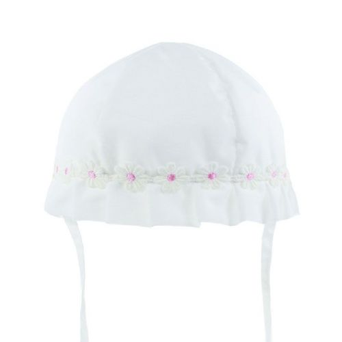 White Cotton Sun Hat with Daisy Trim